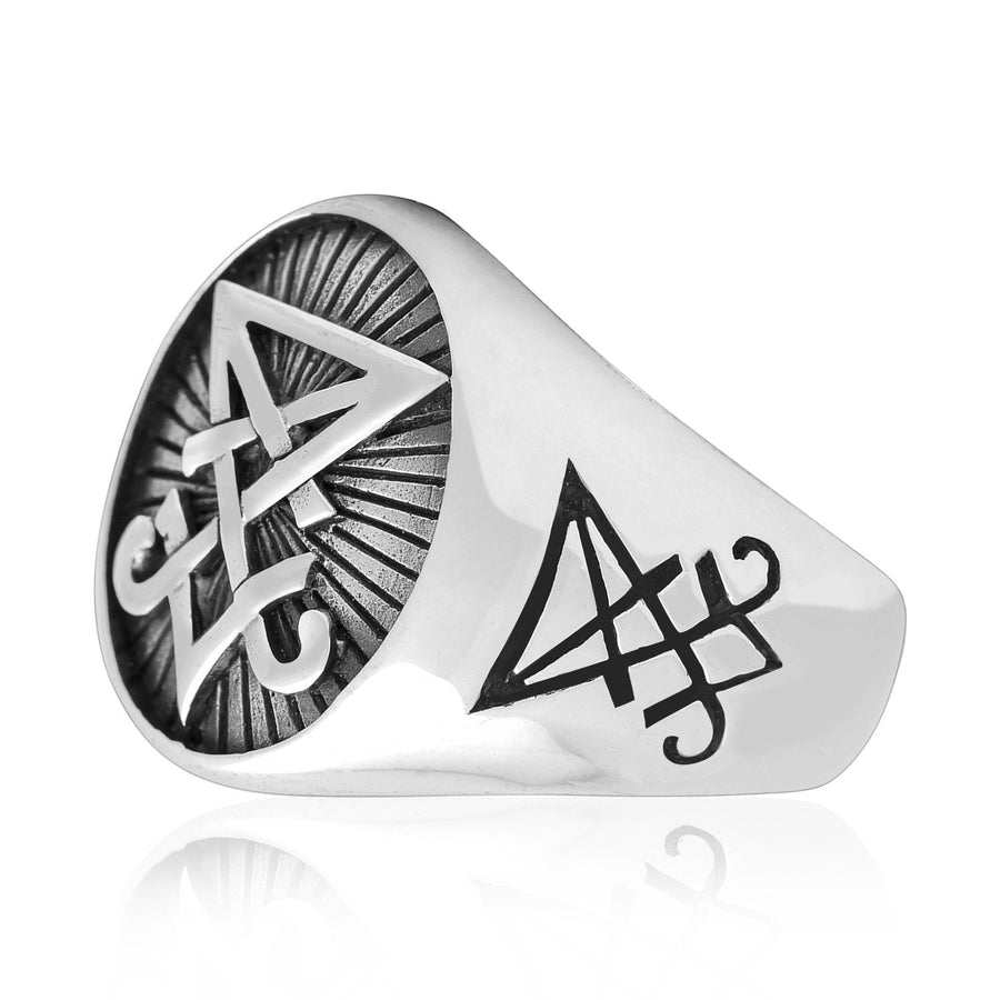 925 Sterling Silver Sigil of Lucifer Satanic Seal of Satan Ring - SilverMania925