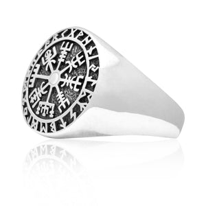 925 Sterling Silver Vegvisir Viking Compass Runes Ring - SilverMania925