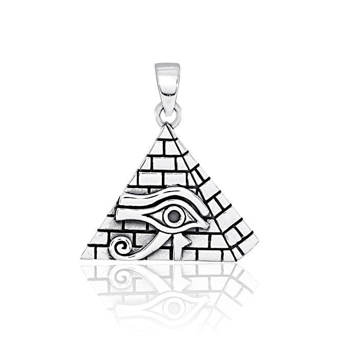 925 Sterling Silver All-Seeing Eye of Providence Horus Illuminati Charm Pendant - SilverMania925