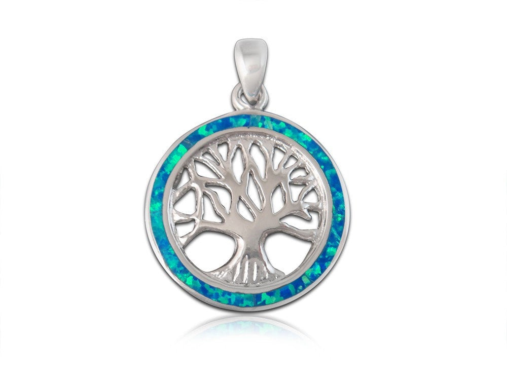 925 Sterling Silver Hawaiian Blue Fire Opal Inlay Tree of Life Round Charm Pendant - SilverMania925