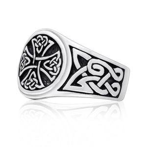 925 Sterling Silver Celtic Irish Knot Knights Templar Iron Cross Band Ring - SilverMania925
