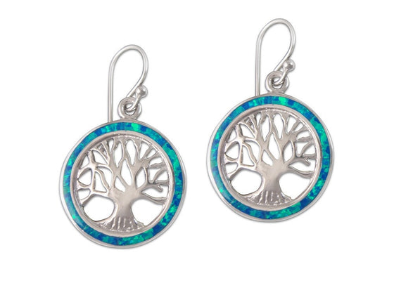 925 Sterling Silver Hawaiian Blue Fire Opal Tree of Life Dangle Earrings Set