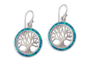 925 Sterling Silver Hawaiian Blue Fire Opal Tree of Life Dangle Earrings SetEdit - SilverMania925