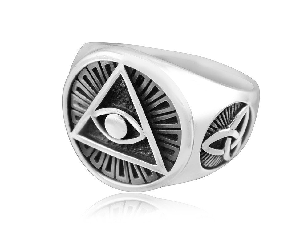 925 Sterling Silver Egyptian Eye of God Horus Udjat Illuminati Celtic Triquetra Ring