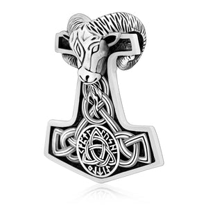 925 Sterling Silver Viking Mjolnir Goat Amulet with Triquetra Knot