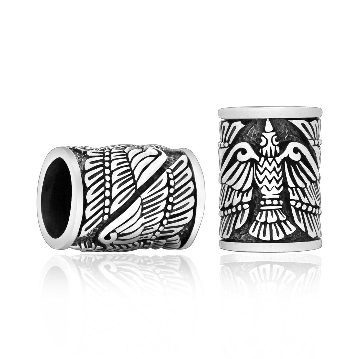 925 Sterling Silver Viking Beard Hair Bead Dreadlocks Huginn and Muninn Raven