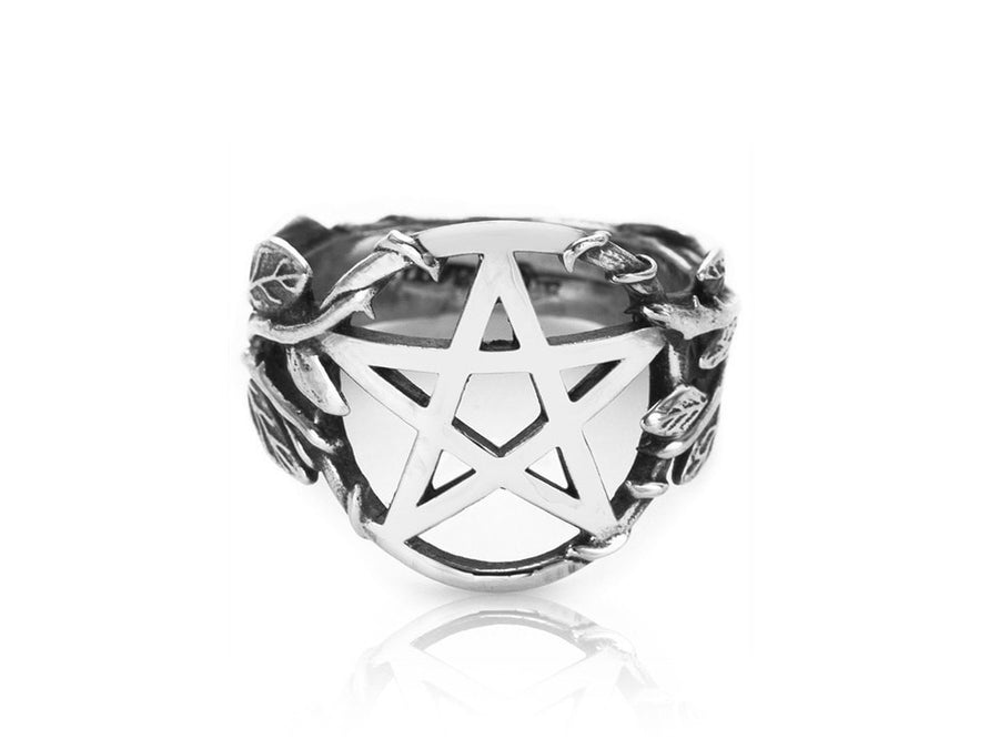 925 Sterling Silver Pentacle Pentagram Filigree Flower High Polish Ring - SilverMania925