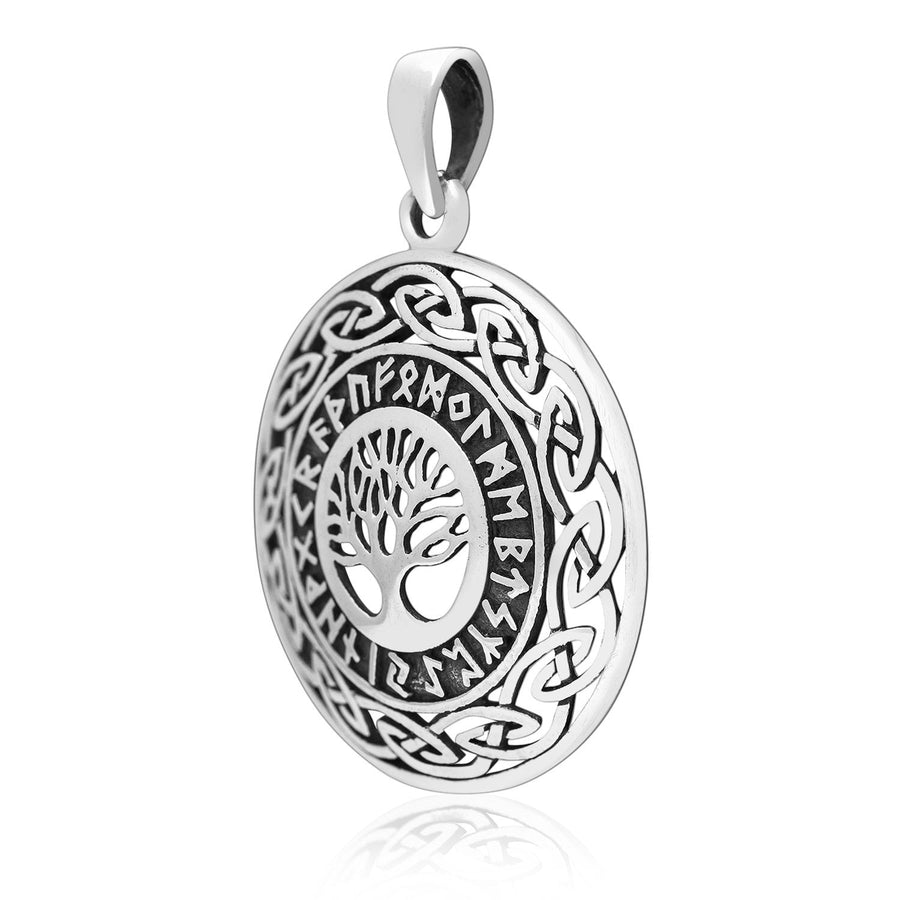 925 Sterling Silver Yggdrasil Tree of Life Viking Runes Futhark Celtic Knots Charm Pendant