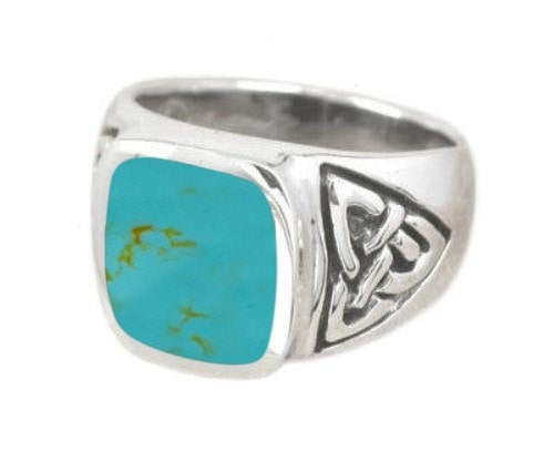 925 Sterling Silver Mens Rectangle Turquoise Celtic Irish Trinity Triquetra Knot Ring