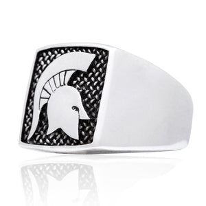 925 Sterling Silver Spartan Warrior Fighter Helmet Signet 300 Lacedaemon Ring