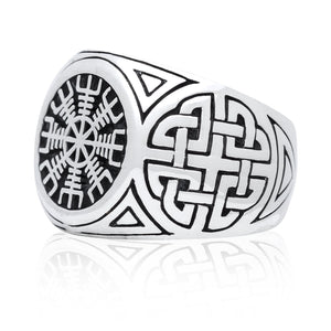 925 Sterling Silver Viking Helm Of Awe Aegishjalmur Knotwork Protection Ring - SilverMania925