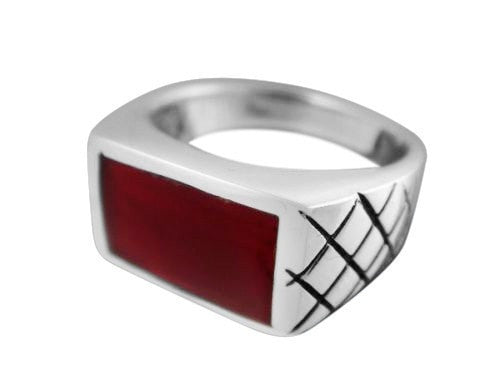 925 Sterling Silver Mens Carnelian Inlay Engraved Checkered Wide Ring - SilverMania925