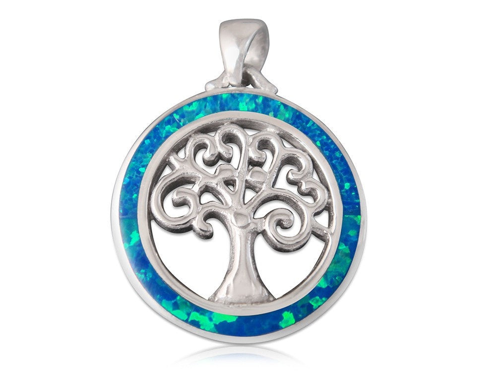 925 Sterling Silver Hawaiian Blue Fire Opal Inlay Celtic Tree of Life Round Charm Pendant - SilverMania925