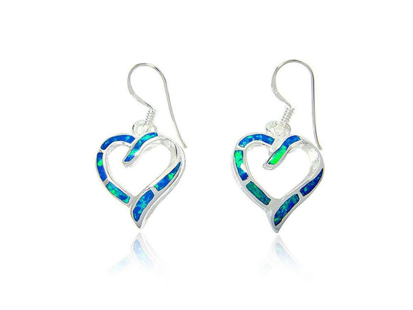 925 Sterling Silver Hawaiian Blue Fire Inlay Opal Love Heart Dangle Earrings Set