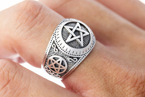 925 Sterling Silver Pentagram Satanic Ring