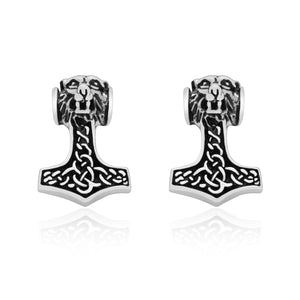 925 Sterling Silver Viking Mjolnir with Knotwork Earrings