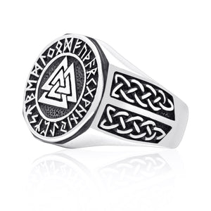 925 Sterling Silver Valknut Norse Runes Knotwork Viking Jewelry Ring - SilverMania925