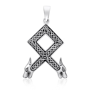 925 Sterling Silver Viking Othala Rune Wolf Heads with Knotwork Pendant - SilverMania925