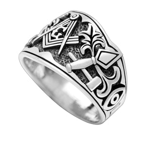 925 Sterling Silver Cigar Band Style Masonic Ring
