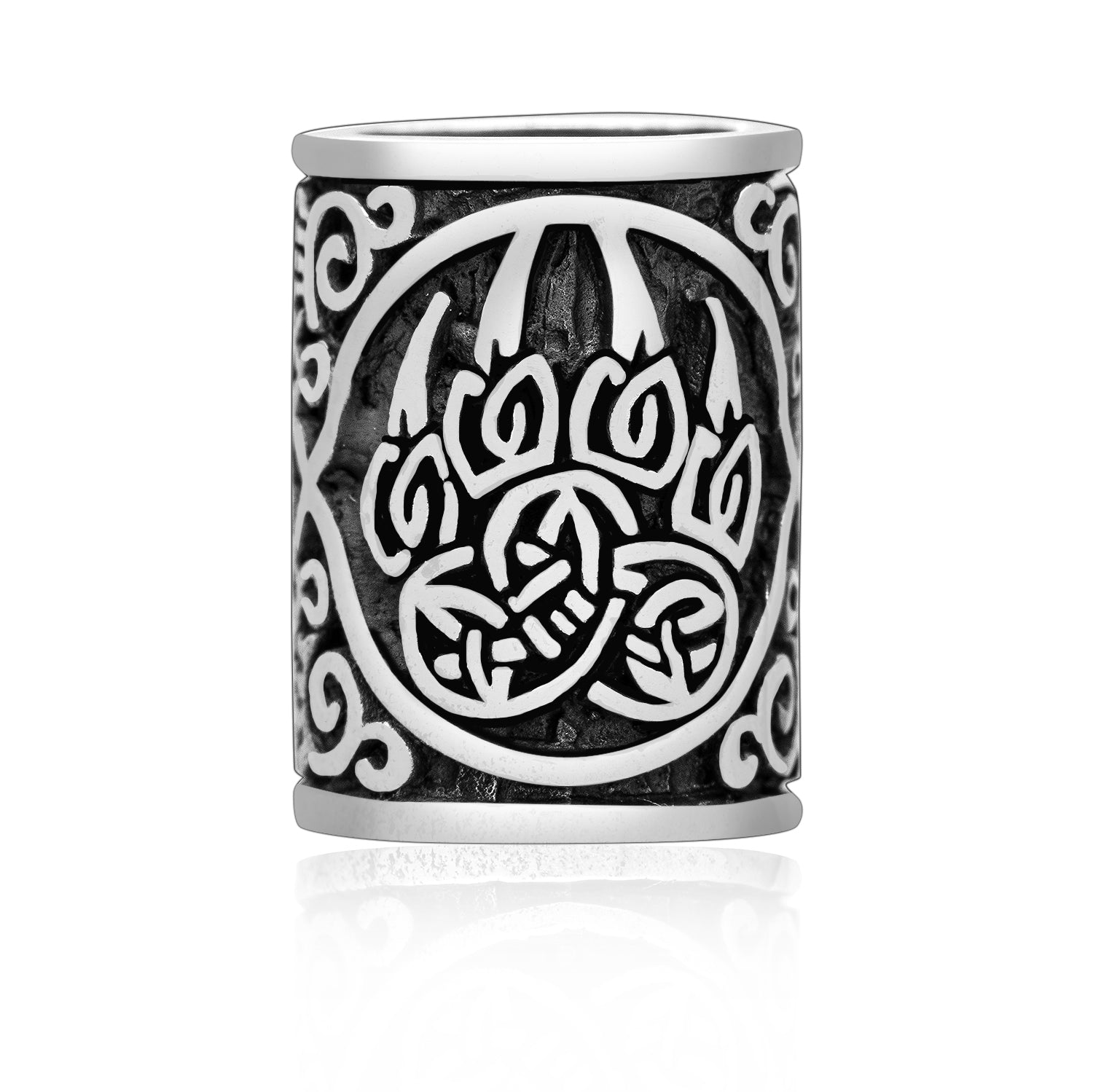 925 Sterling Silver Viking Beard Hair Bead with Bear Claw