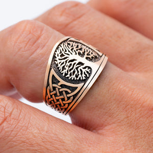 Viking Yggdrasil with Knotwork Bronze Ring