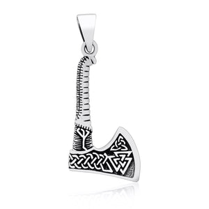 925 Sterling Silver Viking Axe with Valknut Double Sided Pendant - SilverMania925