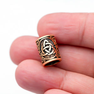 Bronze Viking Beard Bead Dreadlocks with Triquetra