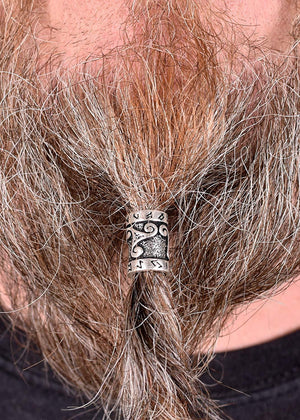Sterling Silver Viking Beard Bead with Runes and Celtic Triskelion