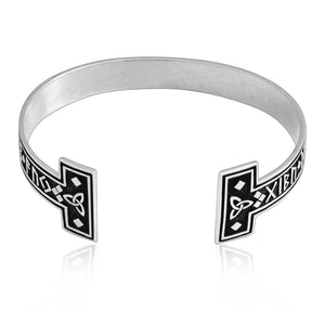 925 Sterling Silver Viking Runes Bangle with Celtic Triquetra