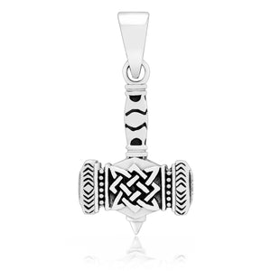 925 Sterling Silver Viking Mjolnir with Knotwork Pendant