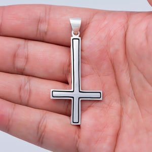 925 Sterling Silver Inverted Cross Satanic Pendant