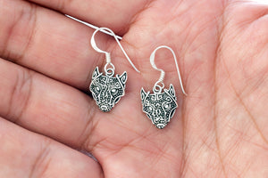 925 Sterling Silver Viking Wolf Head Dangle Earrings Set