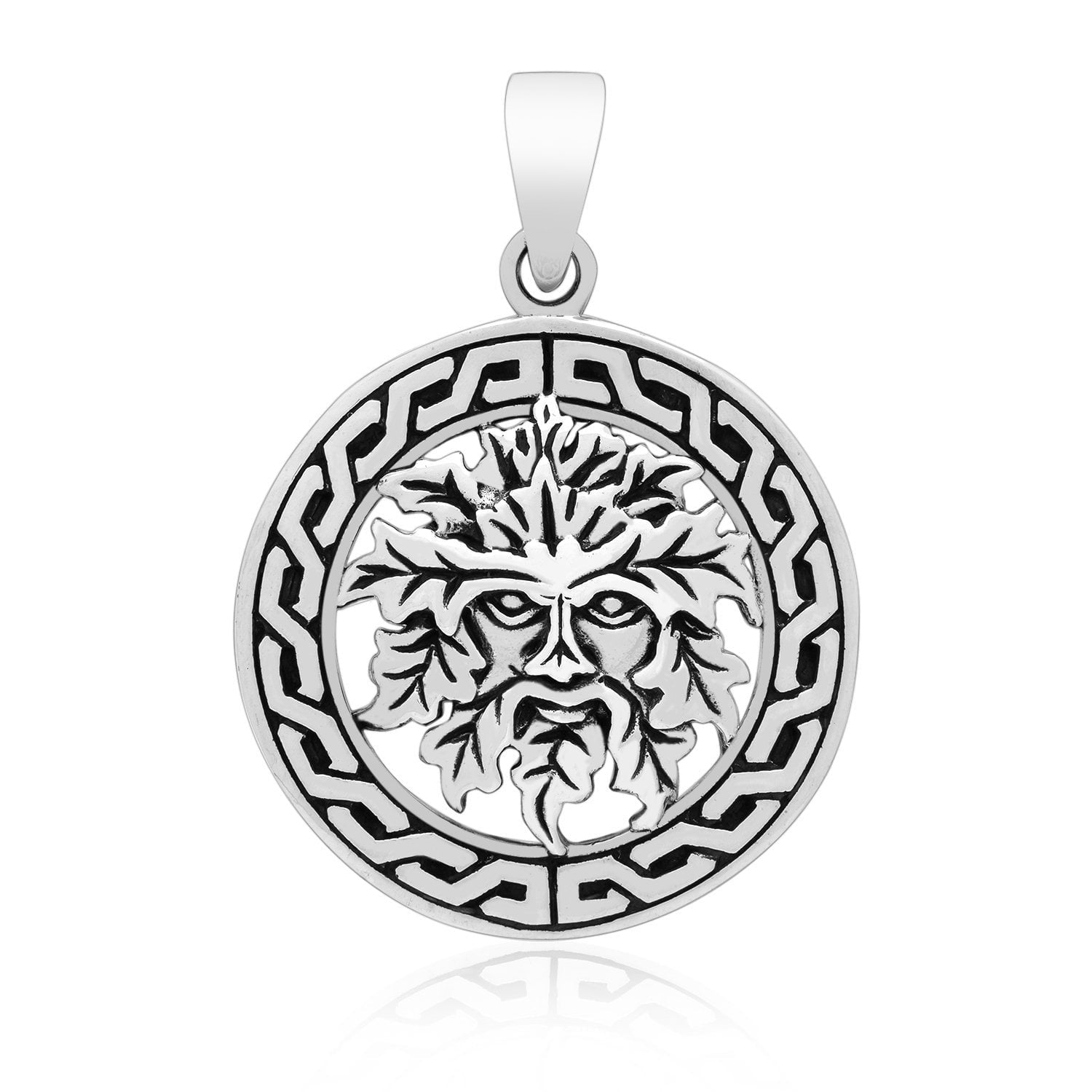 925 Sterling Silver Green Man Celtic Pagan Pendant
