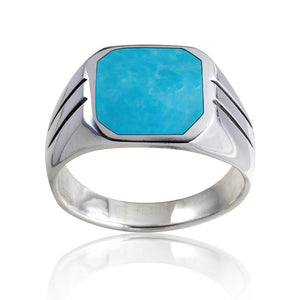 925 Sterling Silver Mens Square Turquoise Classic Style Solid Band Ring - SilverMania925