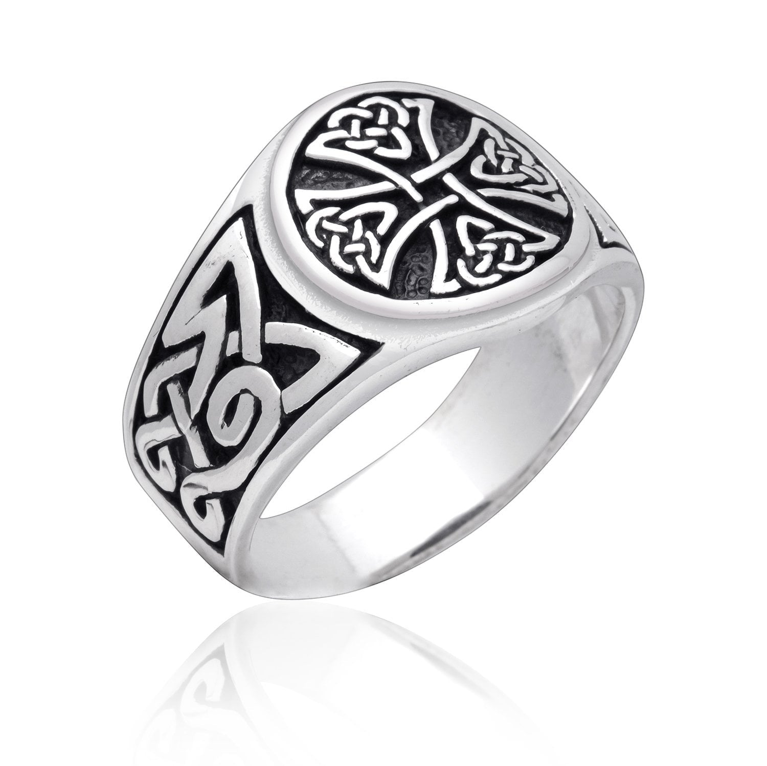 925 Sterling Silver Celtic Irish Knot Knights Templar Iron Cross Band Ring