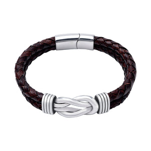 Stainless Steel Celtic Infinity Knot Leather Bracelet