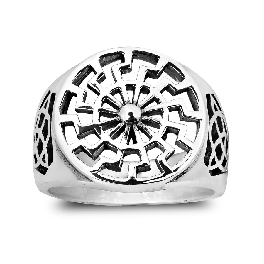 925 Sterling Silver German Schwarze Sonne Black Sun Wheel Sonnenrad Celtic Knot Ring - SilverMania925