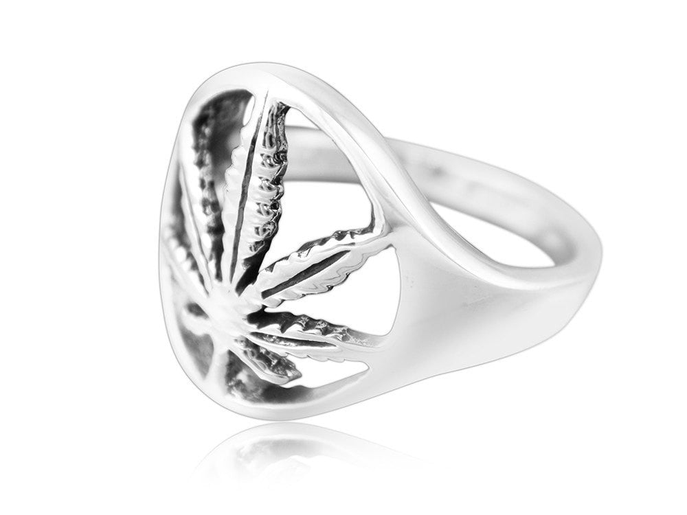 925 Sterling Silver Signet Marijuana Pot Leaf Cannabis Smoke Weed Ganja Ring - SilverMania925