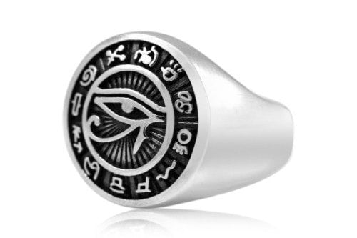 925 Sterling Silver Egyptian Eye of Horus Signet Ring - SilverMania925