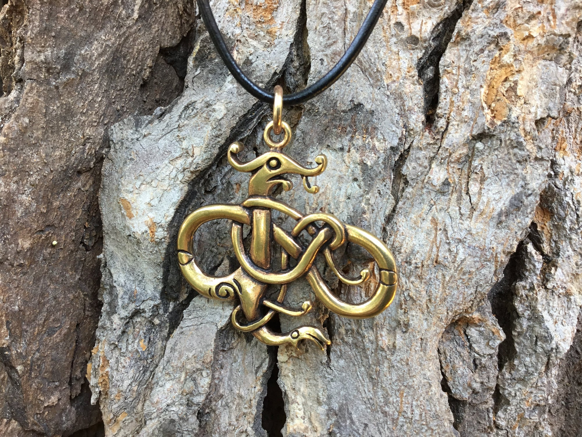 Viking Urnes Style Dragon Bronze Handcrafted Pendant