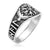 925 Sterling Silver Viking Vegvisir Ring with Raven and Runes