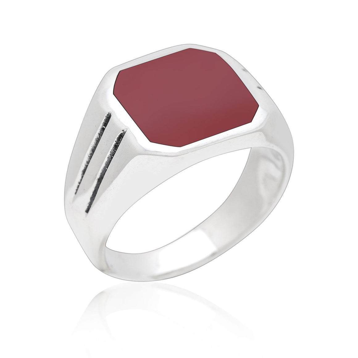 925 Sterling Silver Mens Carnelian Classic Band Ring - SilverMania925