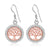 Sterling Silver with Rose Gold Viking Yggdrasil and Cubic Zirconia Earrings