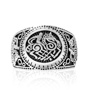 925 Sterling Silver Sleipnir Viking Horse Odin's Steed Signet Norse Ring - SilverMania925