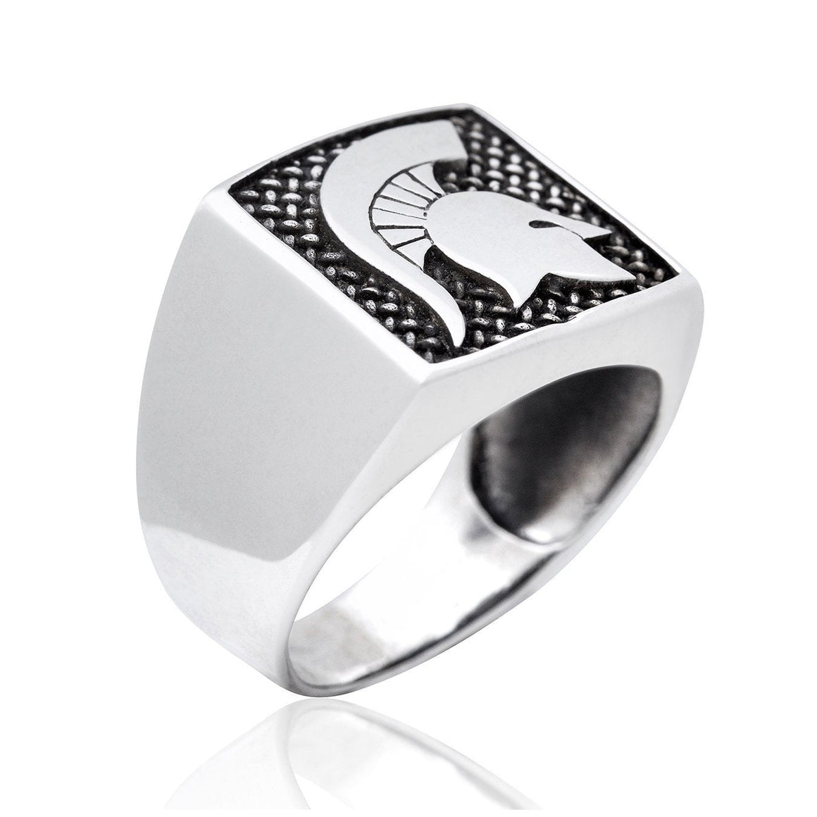 925 Sterling Silver Spartan Warrior Fighter Helmet Signet 300 Lacedaemon Ring - SilverMania925