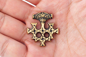 Handcrafted Bronze Viking Hiddensee Cross Thor Hammer Antique Finish Germanic Pendant