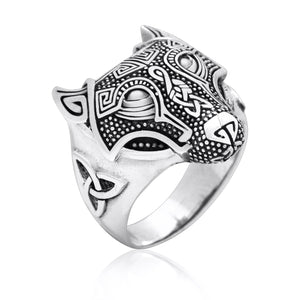 925 Sterling Silver Viking Wolf Fenrir Head Norse Celtic Triquetra Ring