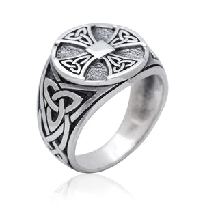 925 Sterling Silver Celtic Knot Knights Templar Iron Cross Triquetra Ring