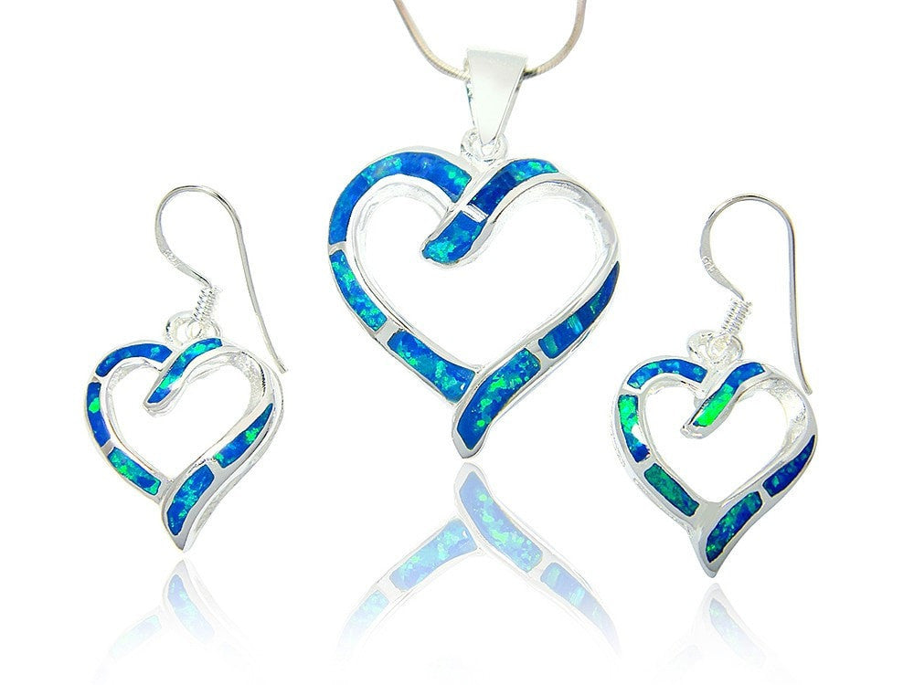 925 Sterling Silver Hawaiian Blue Fire Inlay Opal Love Heart Dangle Earrings Pendant Set - SilverMania925