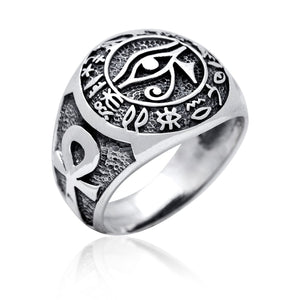 925 Sterling Silver Egypt Egyptian Hieroglyphs Eye of Horus Udjat Ankh Ring - SilverMania925